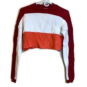 Urban Outfitters Striped Cropped Sweatshirt